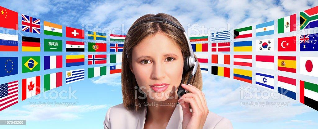 call center operator international contact stock photo