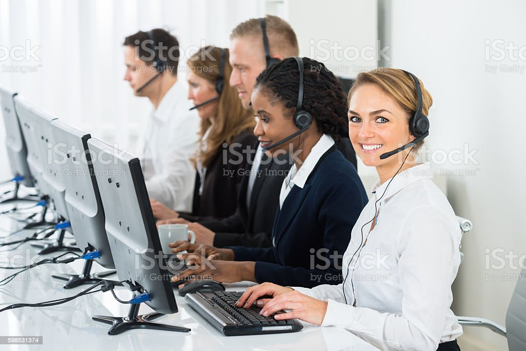 Call Center Operators In Office stock photo