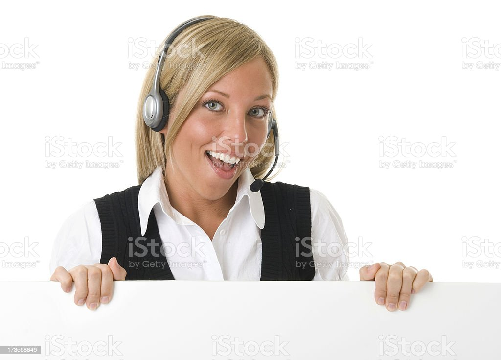 Call Center Poster Hold Horizontal royalty-free stock photo
