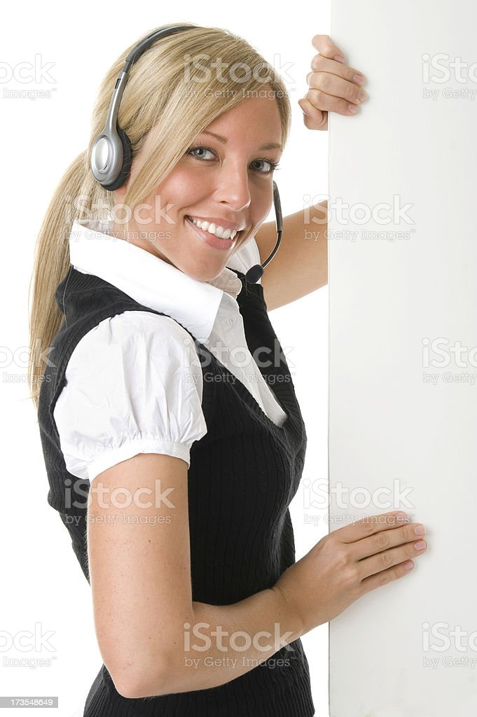 Call Center Rep Poster Hold royalty-free stock photo