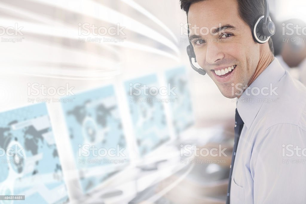 Call center worker using futuristic interface hologram stock photo
