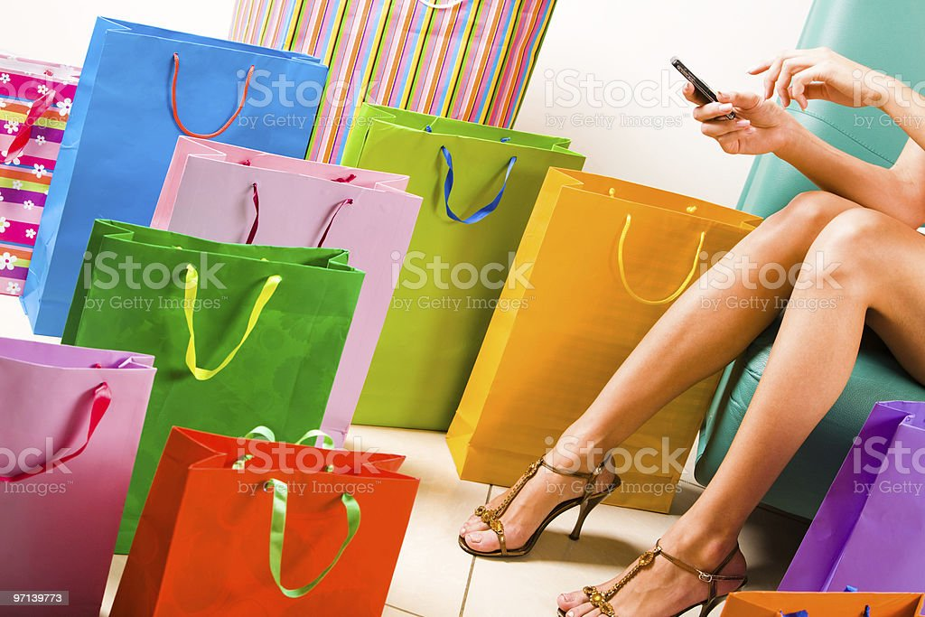 Call during shopping stock photo