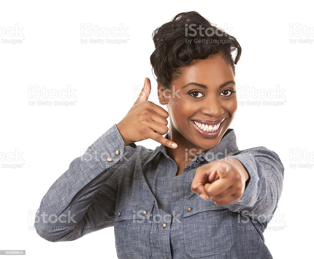 call me gesture royalty-free stock photo