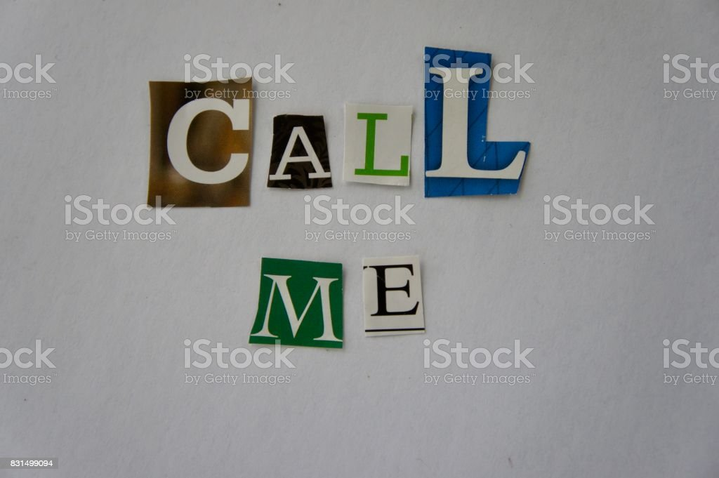 Call Me Written Ransom Note Style stock photo