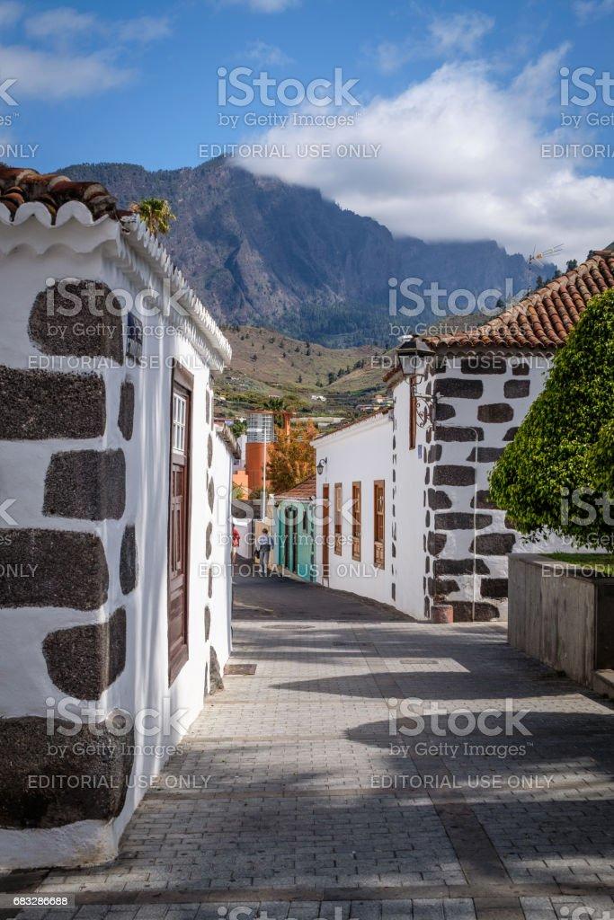 Calle Conrado Hernández at Plaza Elías Santos Abreu, Los Llanos, La Palma, Spain stock photo