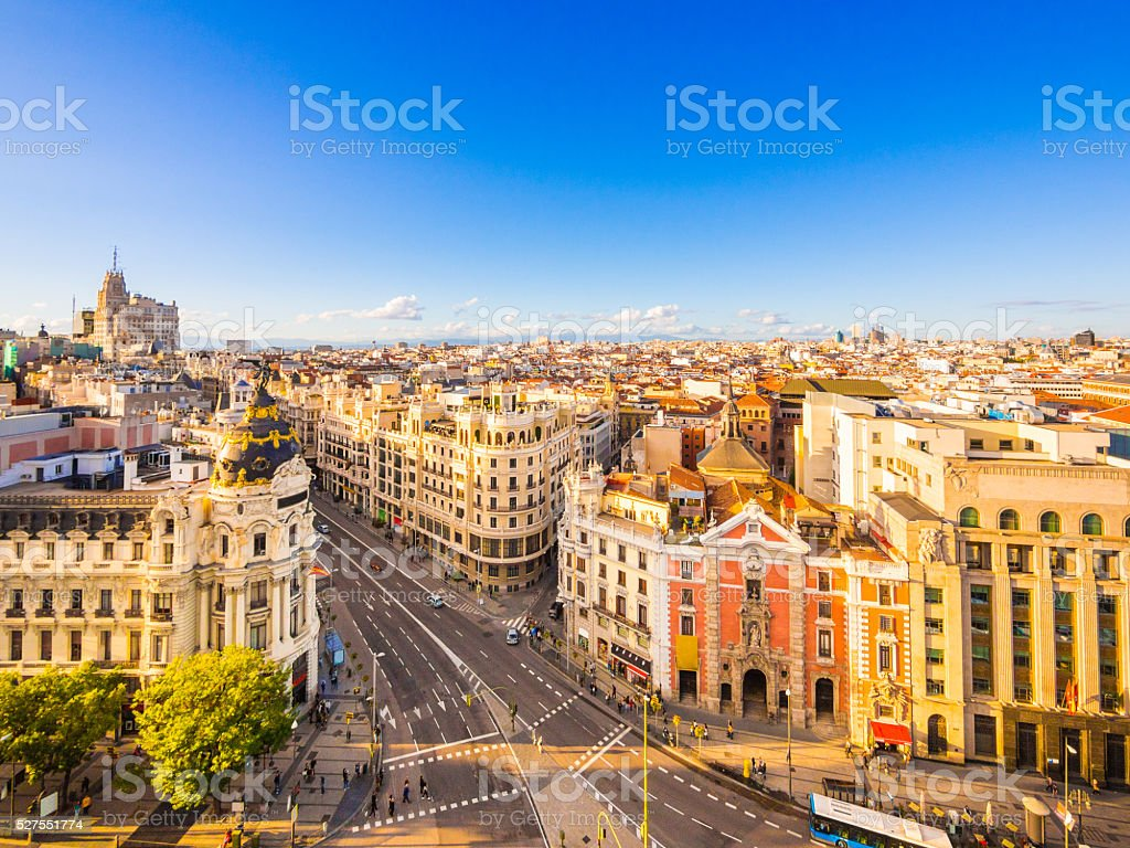 Calle de Alcala in Madrid, Spain stock photo