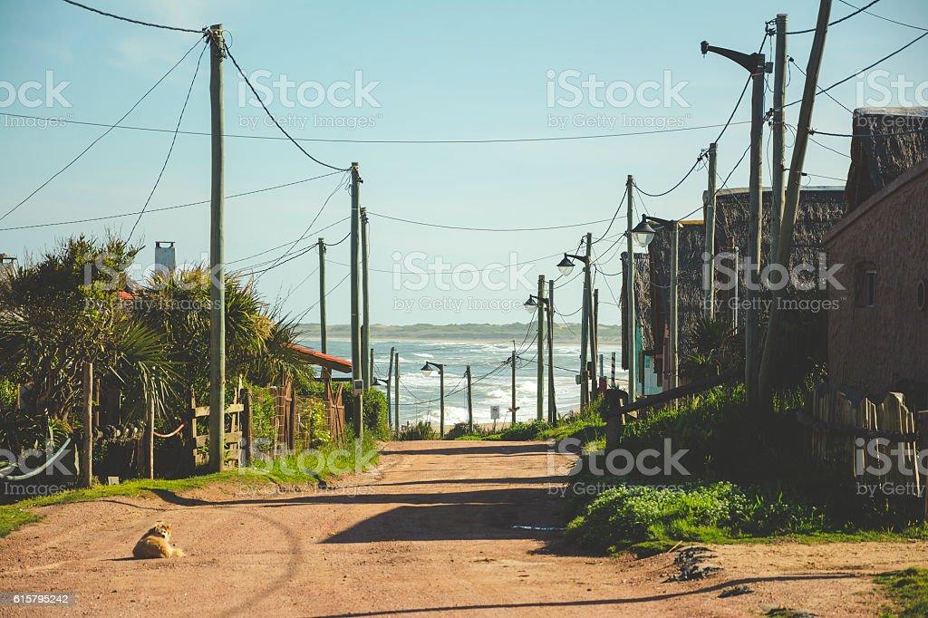 Calle de balneario stock photo