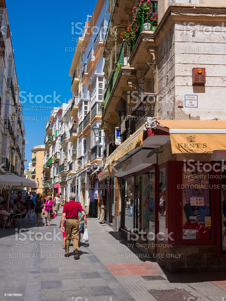 Calle Marques de Cadiz in Jerez, Spain stock photo