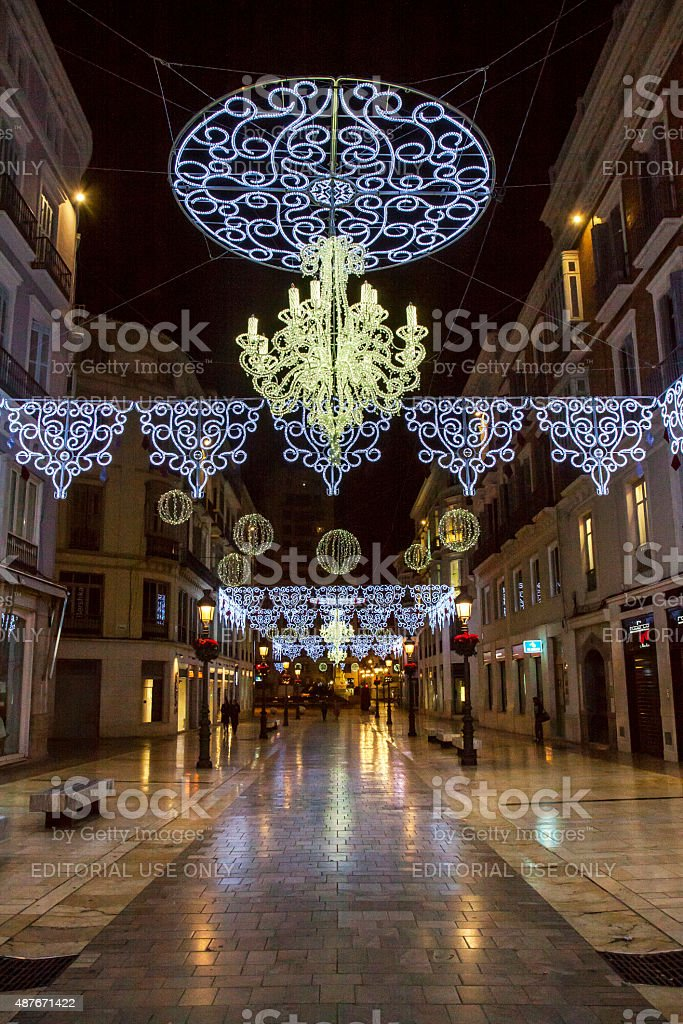 Calle Marques Larios in Malaga with christmas decoration stock photo