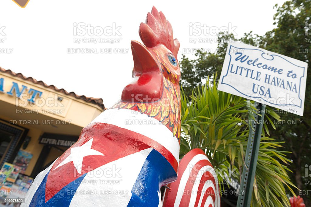 Calle Ocho Rooster Little Havana Statue in Miami Travel Destinations stock photo