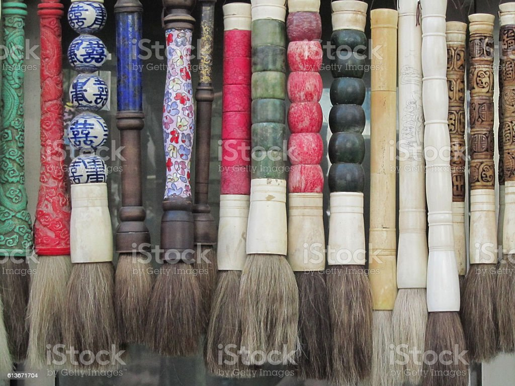 Calligraphy Brushes In Line For Sale in Shanghai, China stock photo