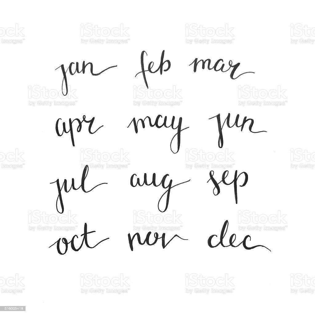 Calligraphy / Handwritten Calendar stock photo