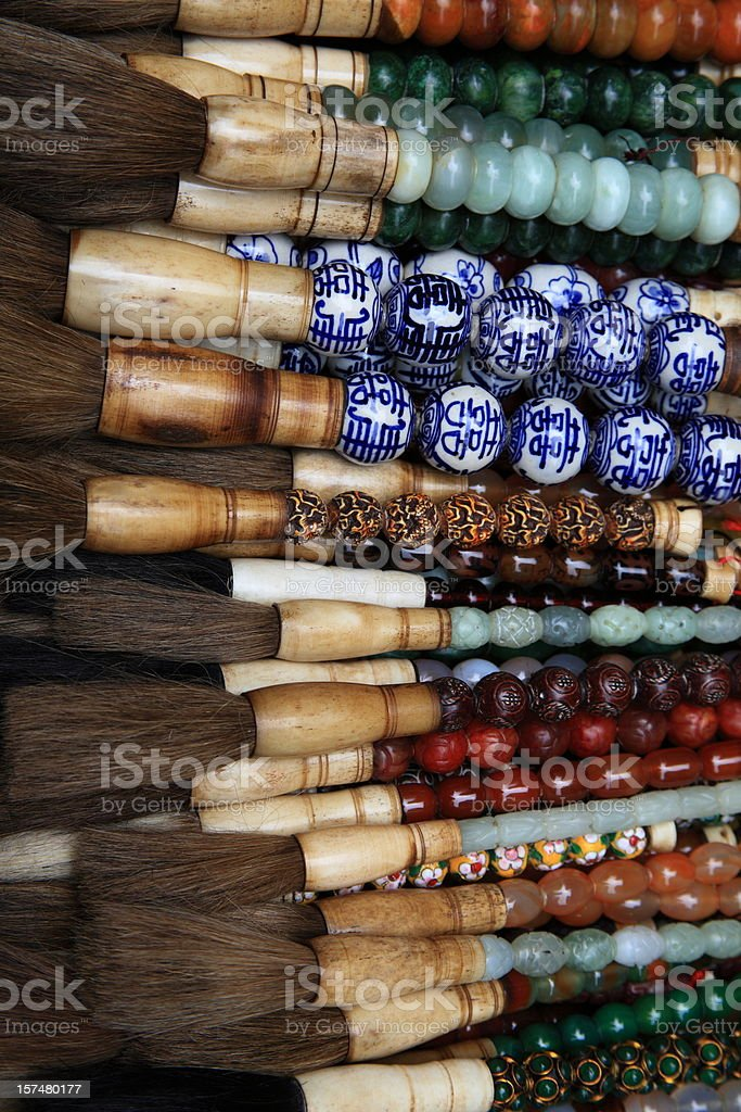 Calligraphy painting brushes stock photo