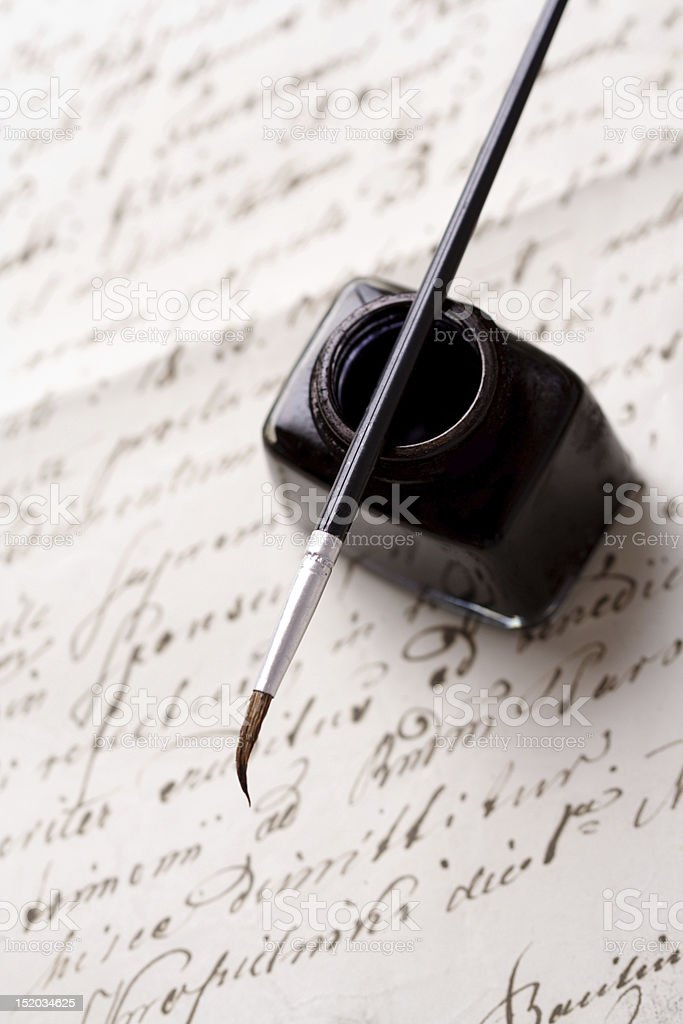 calligraphy set stock photo