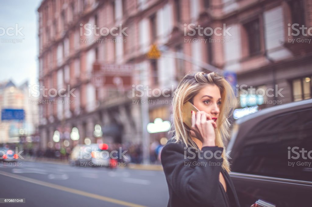 Calling a friend stock photo