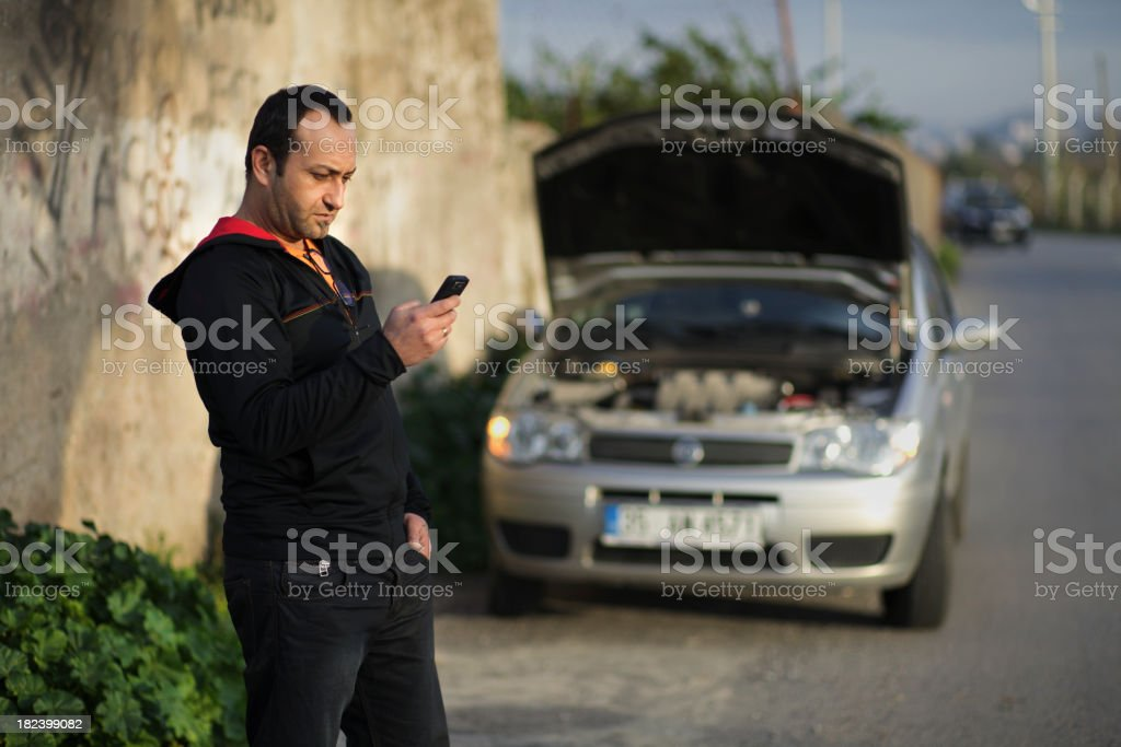 Calling Car Assistance royalty-free stock photo