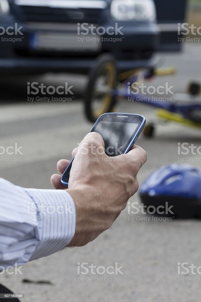 Calling for help because of accident stock photo