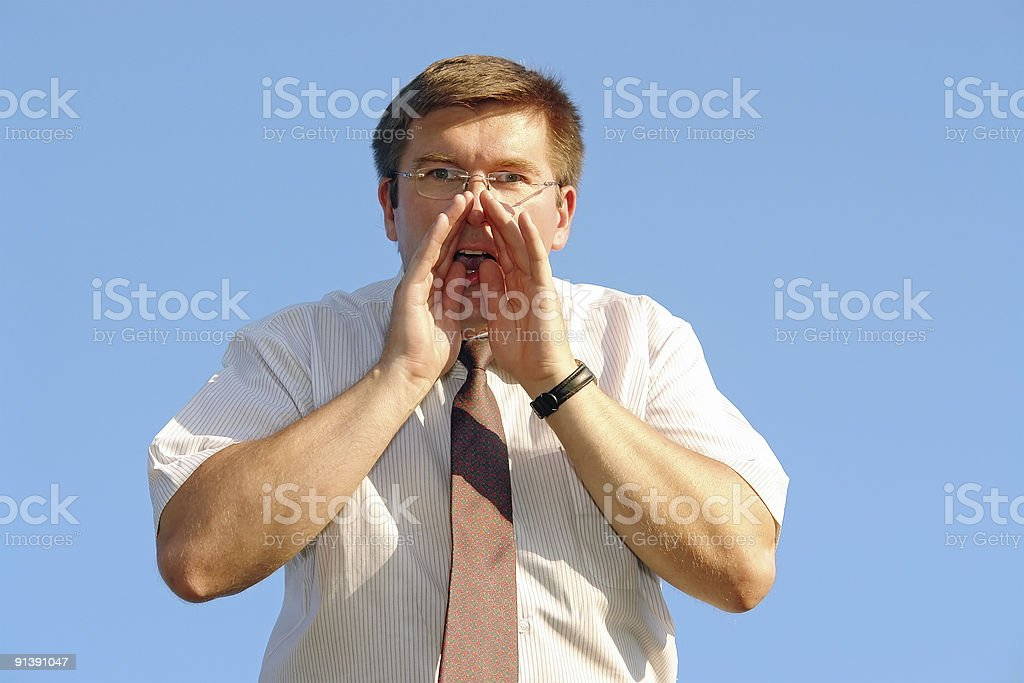 Calling for help stock photo