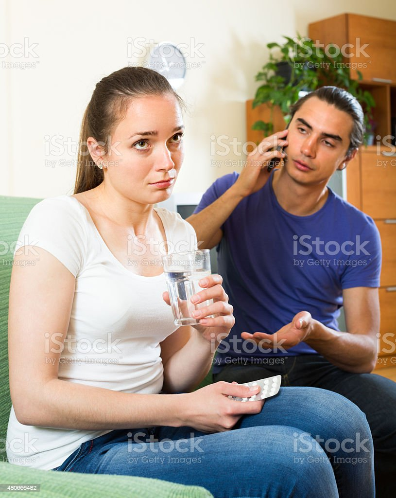 Calling for medical assistance stock photo