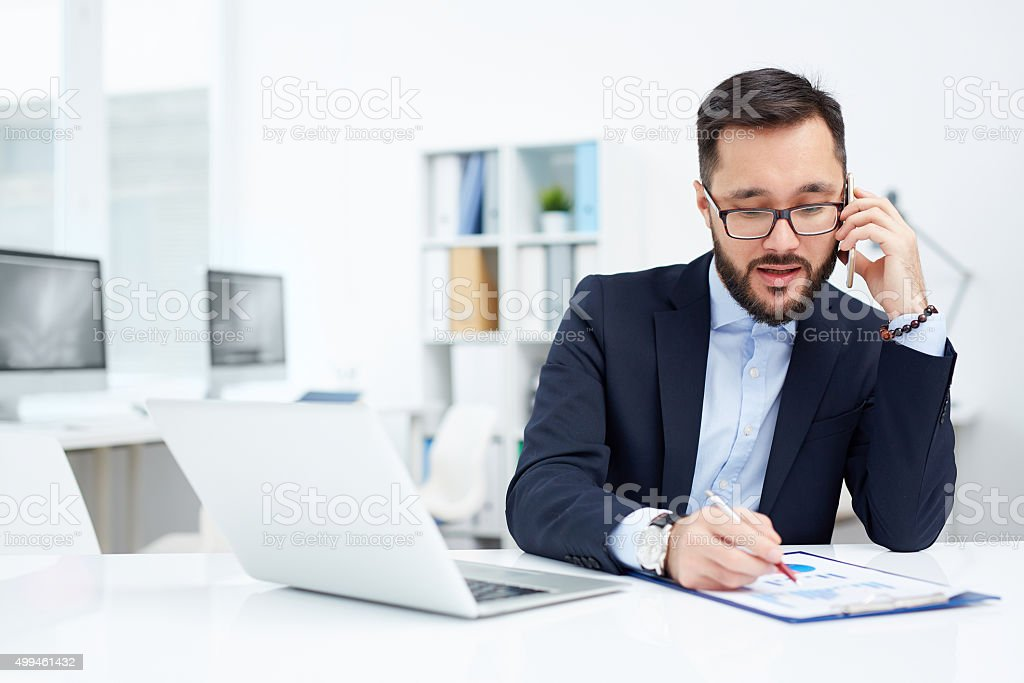 Calling from office stock photo