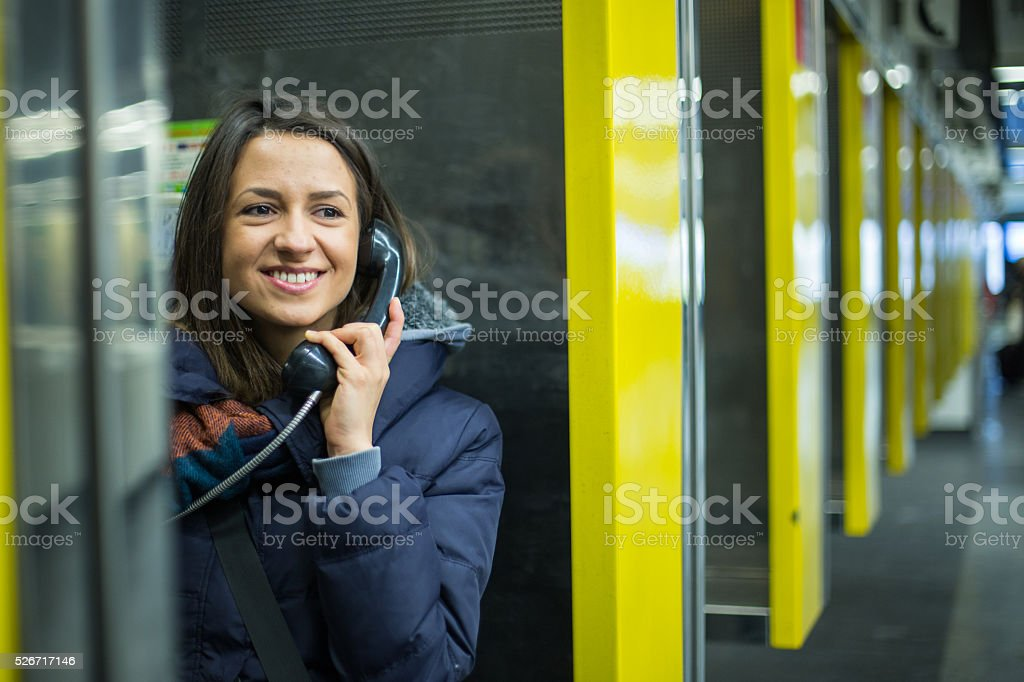 Calling home stock photo