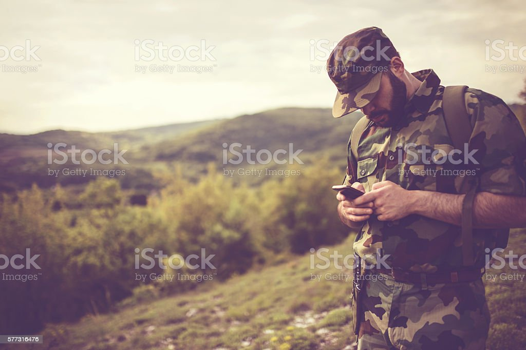 Calling home stock photo