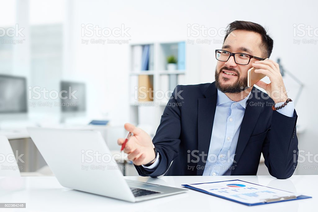 Calling in office stock photo