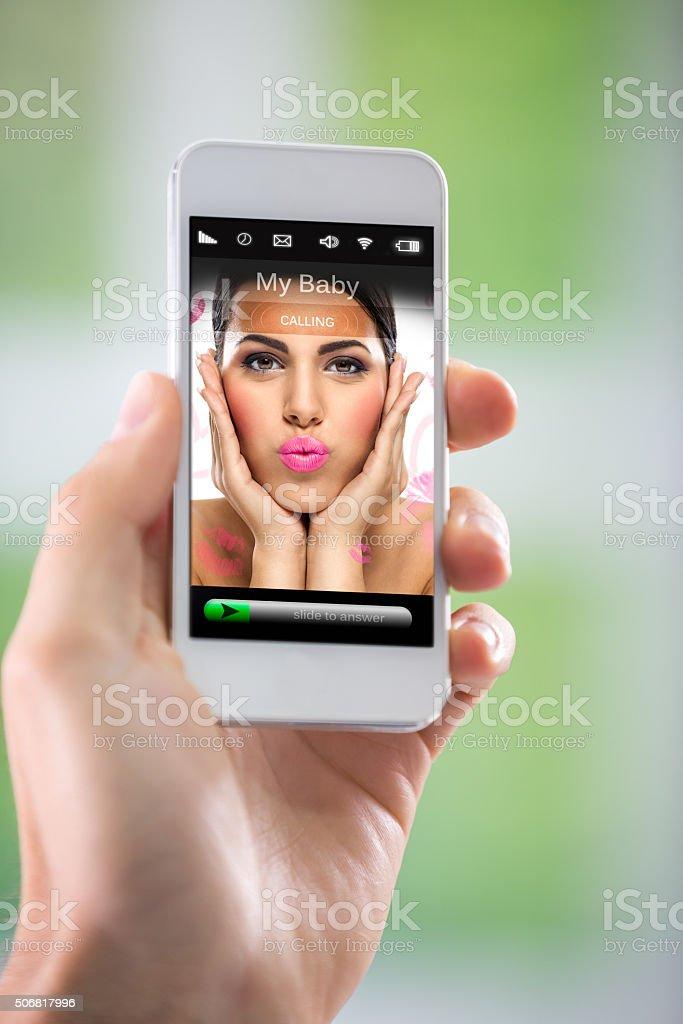 Calling my love stock photo