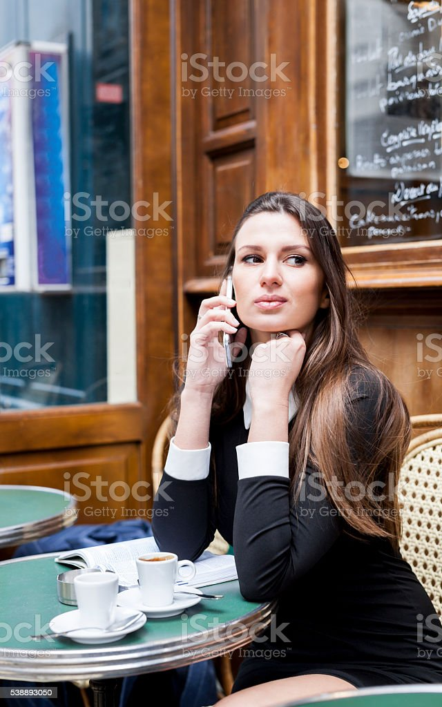 Calling To A Friend To Ask For Advice stock photo
