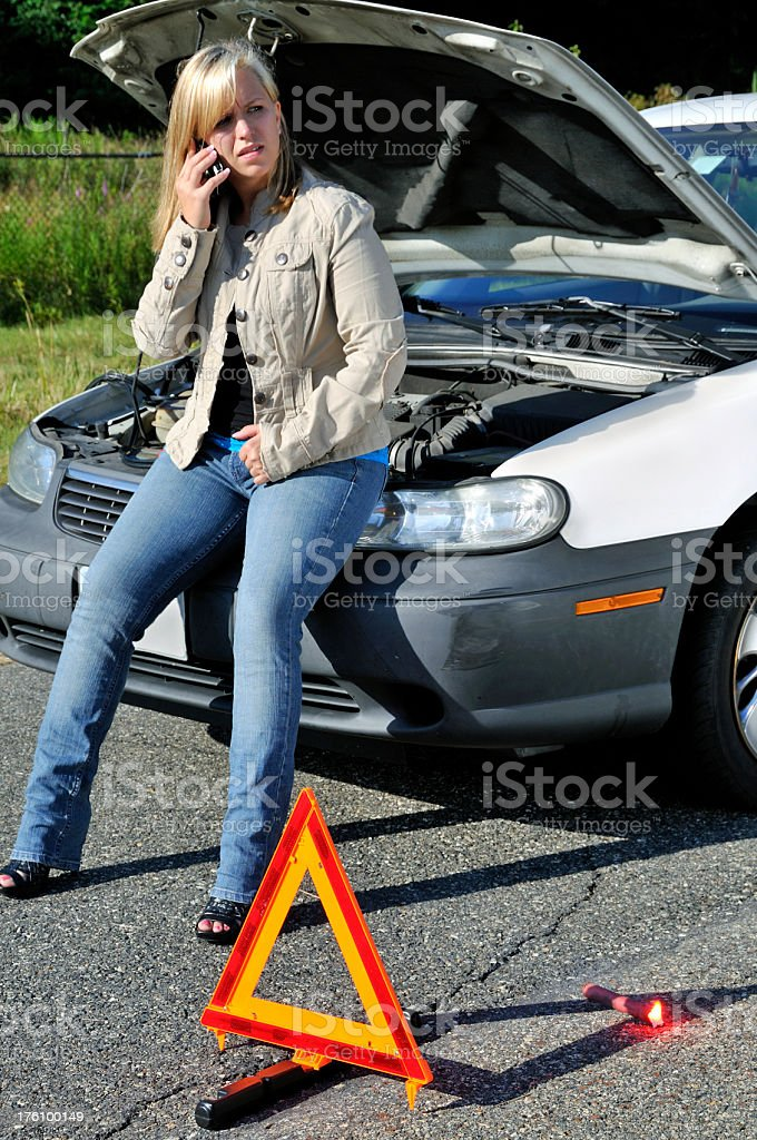 Calling Towing Service for Breakdown royalty-free stock photo