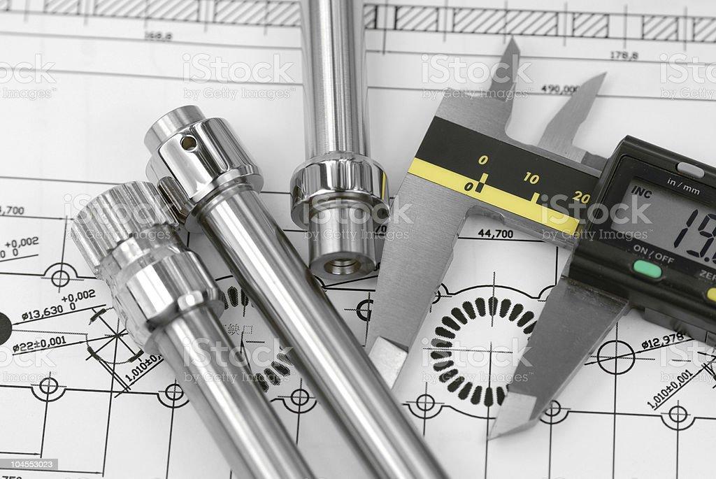 calliper with mechanical prats stock photo
