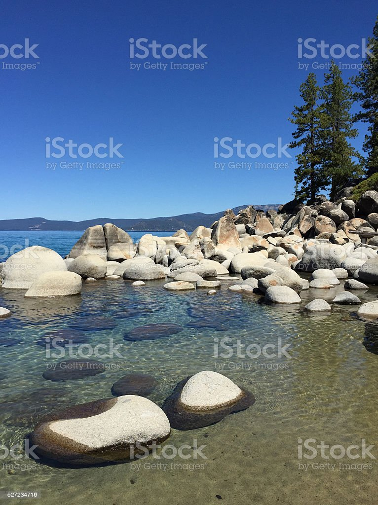 Calm and Clear Blue Waters of Lake Tahoe royalty-free stock photo