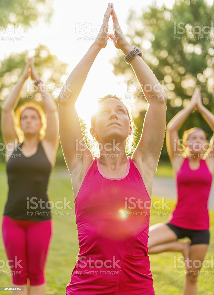 calm and peaceful women stock photo