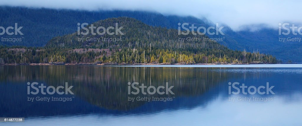 Calm and peacefull lake with reflection stock photo