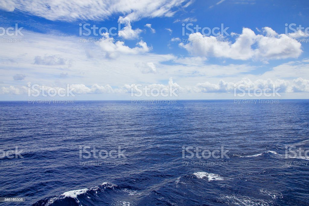 Calm Atlantic Ocean and Clouds On Route To Bermuda stock photo