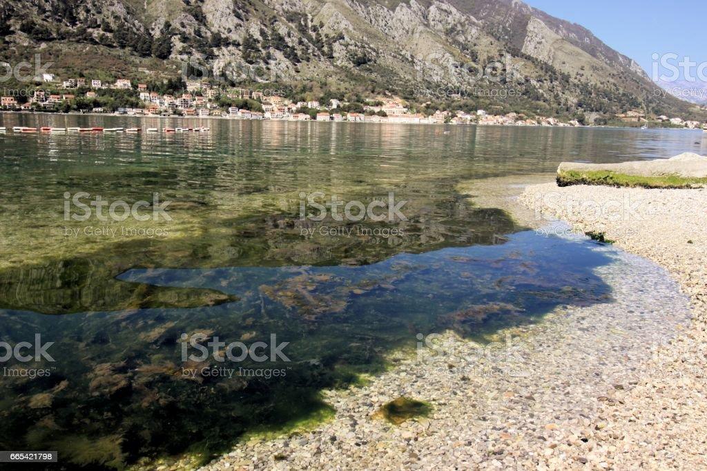 Calm bay of Kotor stock photo