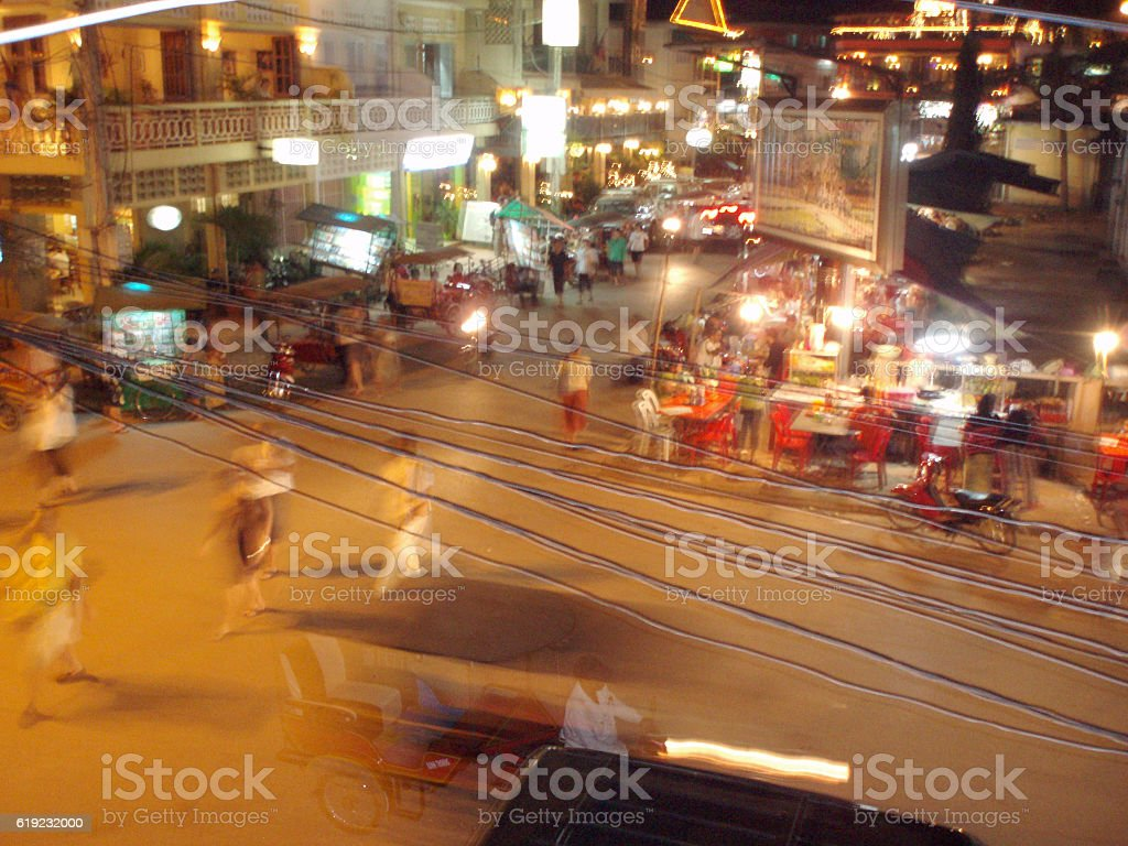 Calm Before Friday Night's Revelry, Siem Reap, Cambodia stock photo