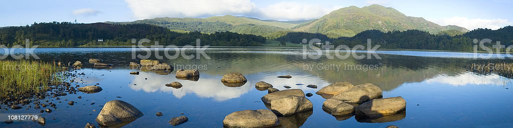 Calm Blue Water Against Wooded Mountains royalty-free stock photo