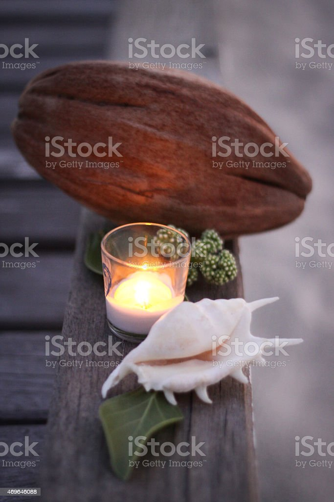 Calm Candle Scene with Coconut and Shell stock photo