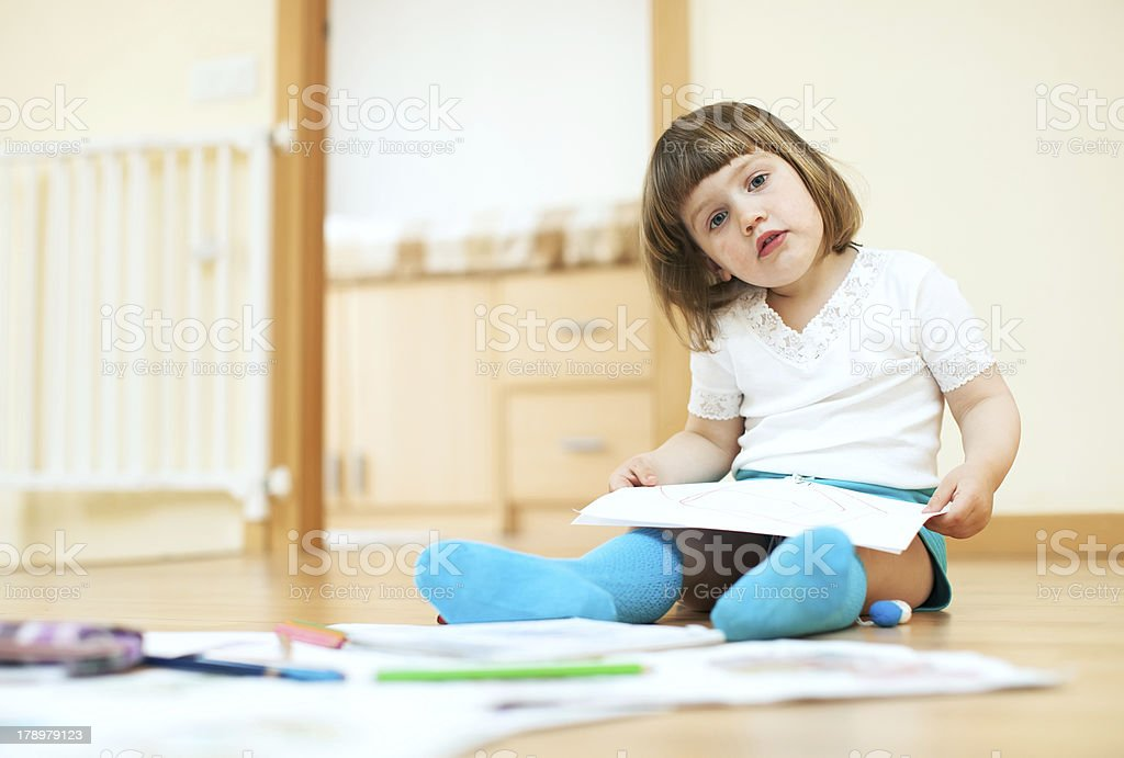 calm  child sketching on paper royalty-free stock photo