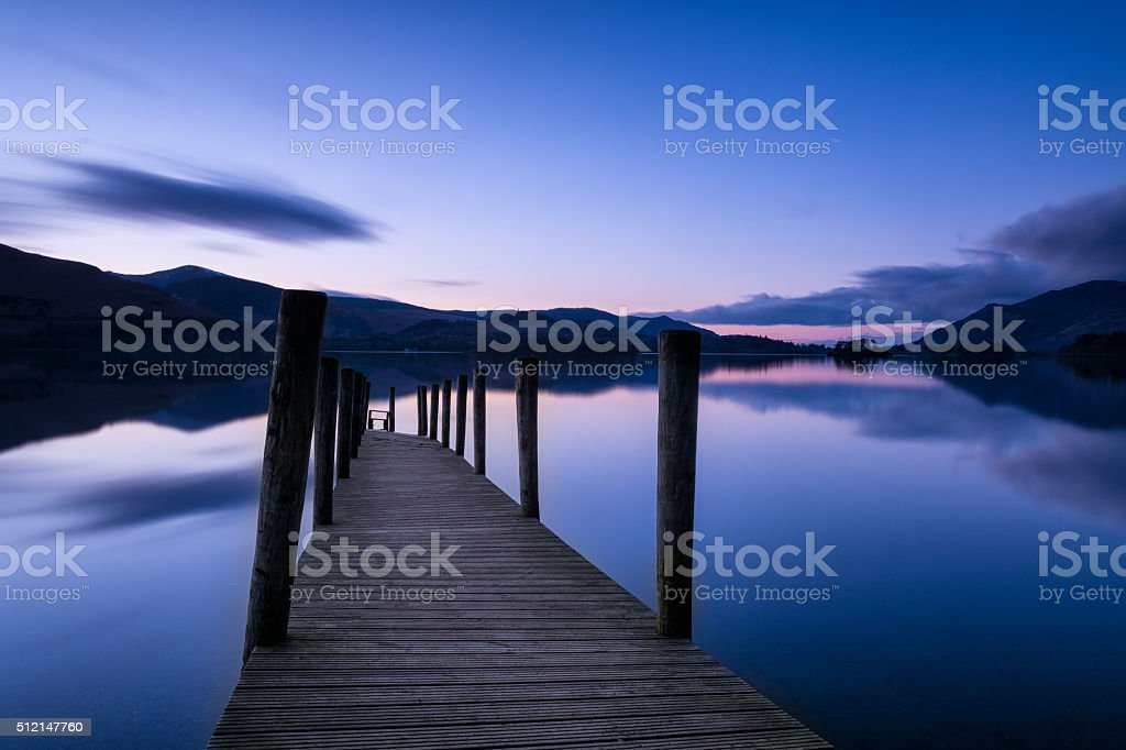 Calm Dusk At Ashness Jetty With Mirror-like Reflections. stock photo