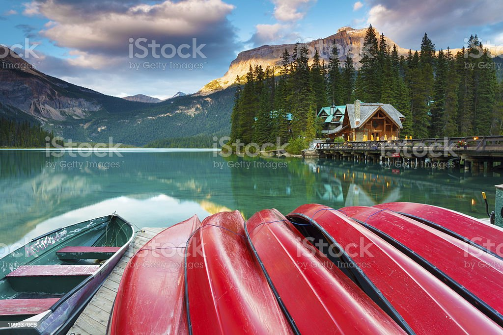 Calm Evening at Emerald Lake stock photo
