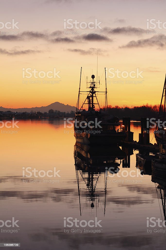 Calm Harbor Morning, Steveston stock photo