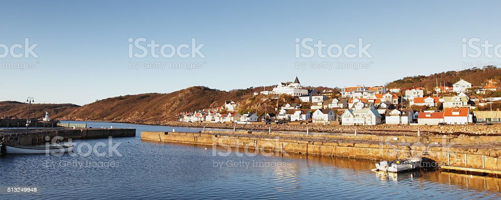 calm harbour in Molle Sweden stock photo
