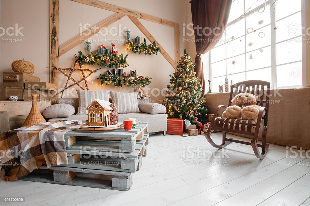 Calm image of interior modern home living room decorated christmas...