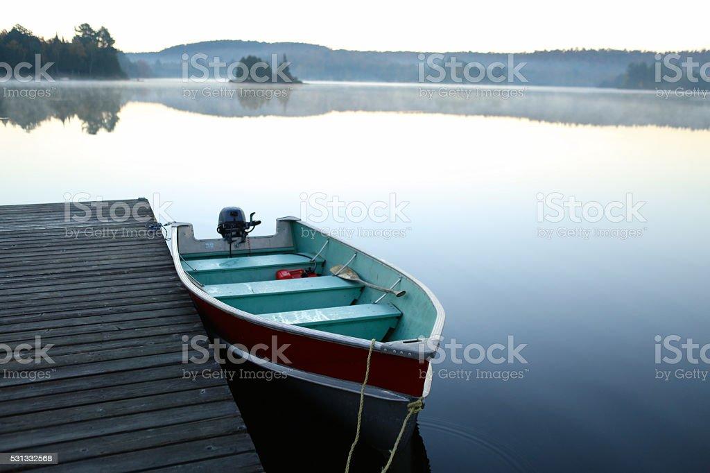 Calm Lake at sunrise stock photo