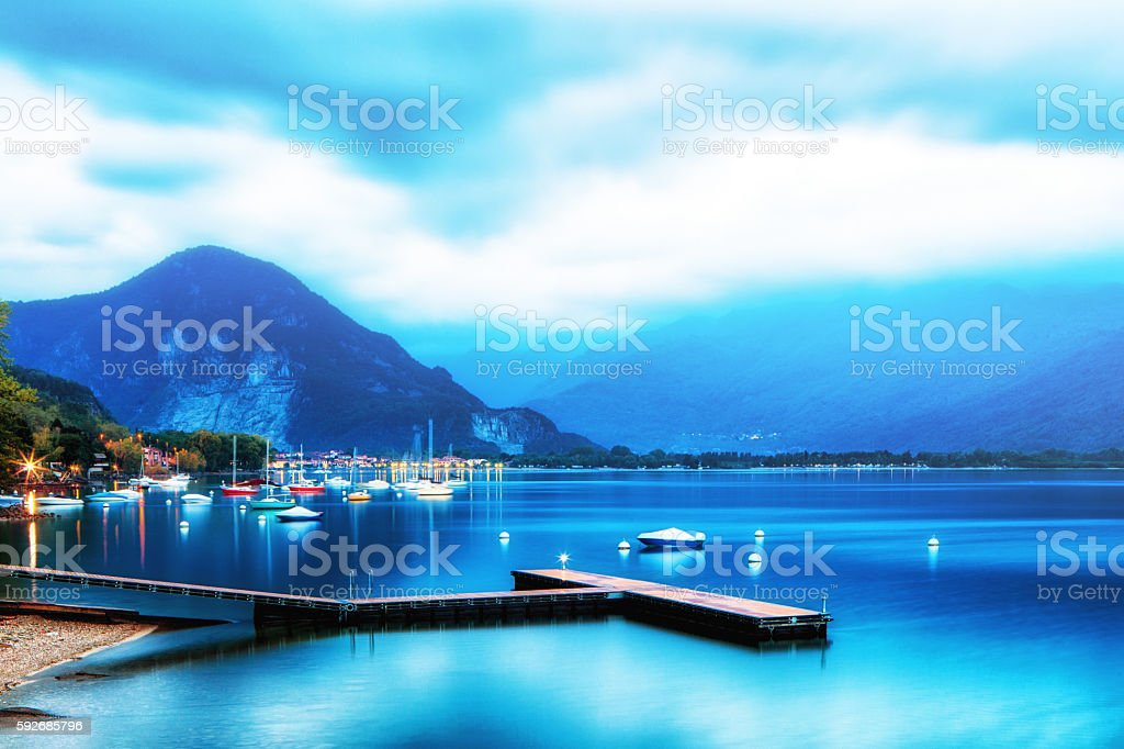 Calm Lake Maggiore Italy Sunrise stock photo