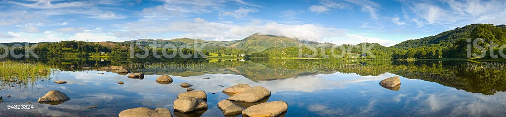 Calm lake, mountain vista stock photo