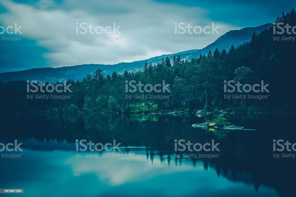 Calm Lake Scenery stock photo