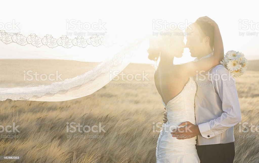 Calm lovely young newlyweds hugging tenderly stock photo